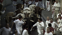 Bull Running in Pamplona 3D photo