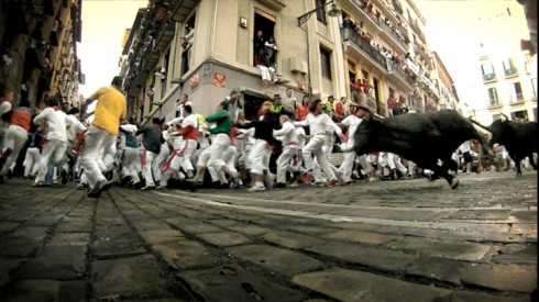 Picture Bull Running in Pamplona 3D